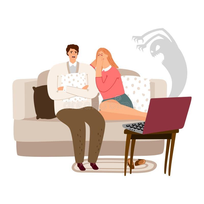 De doen schrikken man en vrouwen het letten op vectorillustratie van de verschrikkingsfilm royalty-vrije illustratie