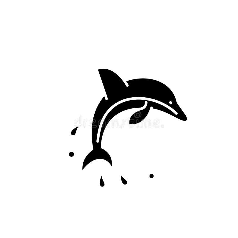 De dolfijn toont zwart pictogram, vectorteken op geïsoleerde achtergrond De dolfijn toont conceptensymbool, illustratie stock illustratie