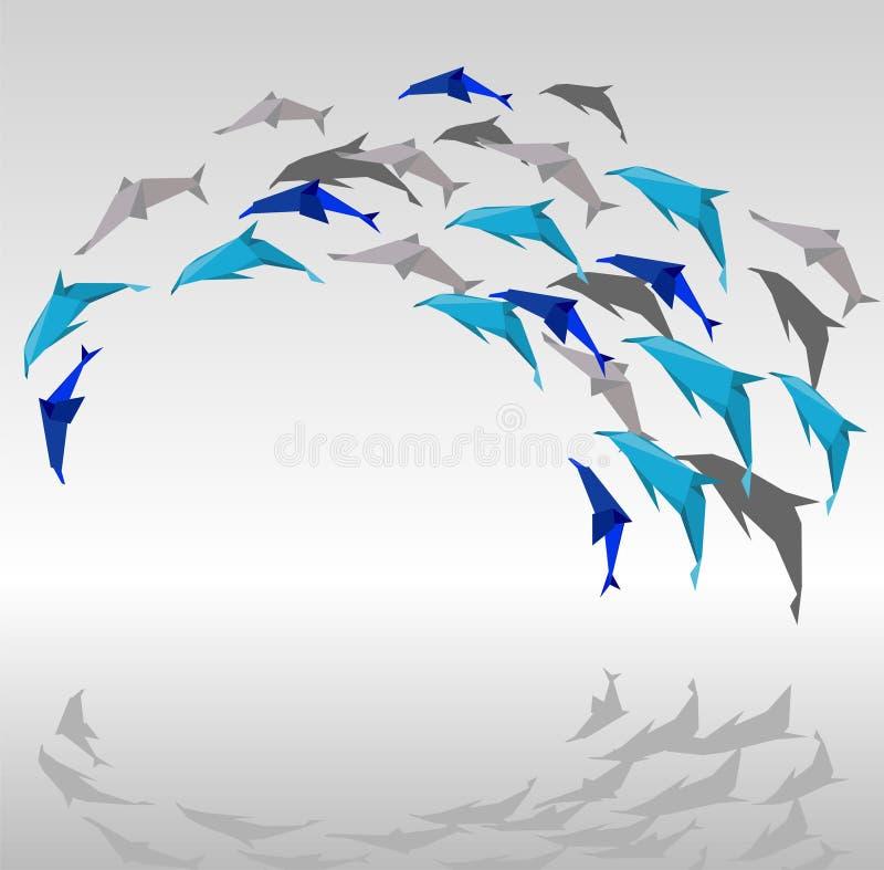 De dolfijnen van de origami. royalty-vrije illustratie