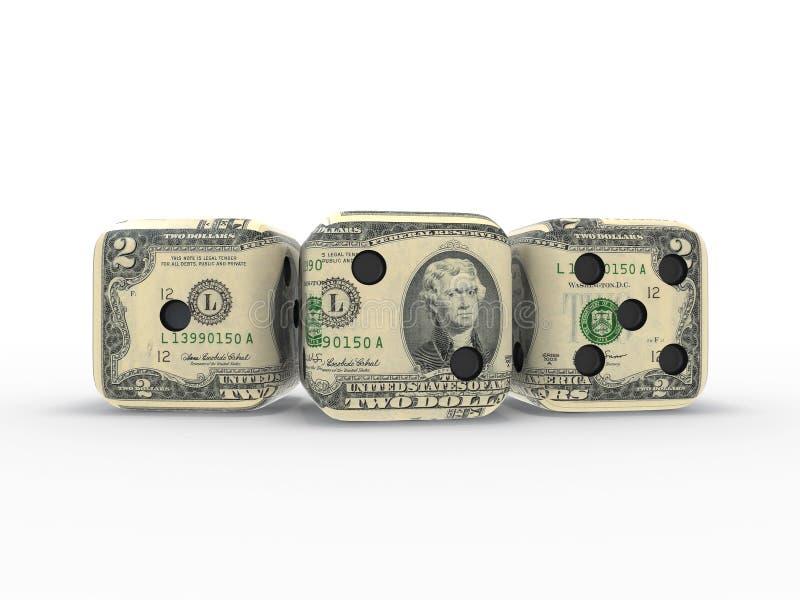 De dollar dobbelt stock foto