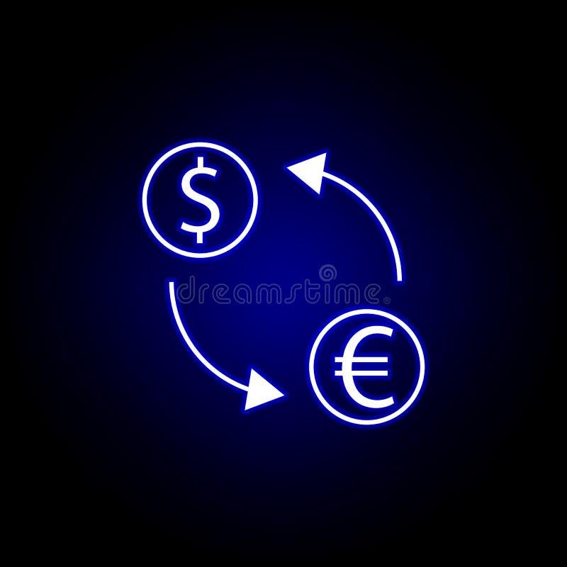 de dollar euro pictogram van de uitwisselingspijl in neonstijl Element van financi?nillustratie Tekens en symbolen het pictogram  stock illustratie