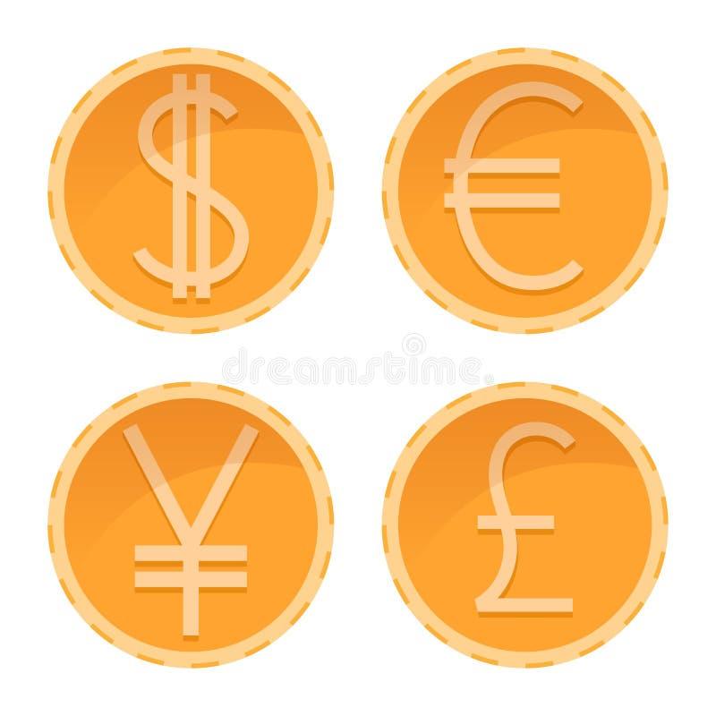 De dollar, euro, Yen, verplettert gouden muntstukken, verschillende munten, vectorgeldillustratie vector illustratie