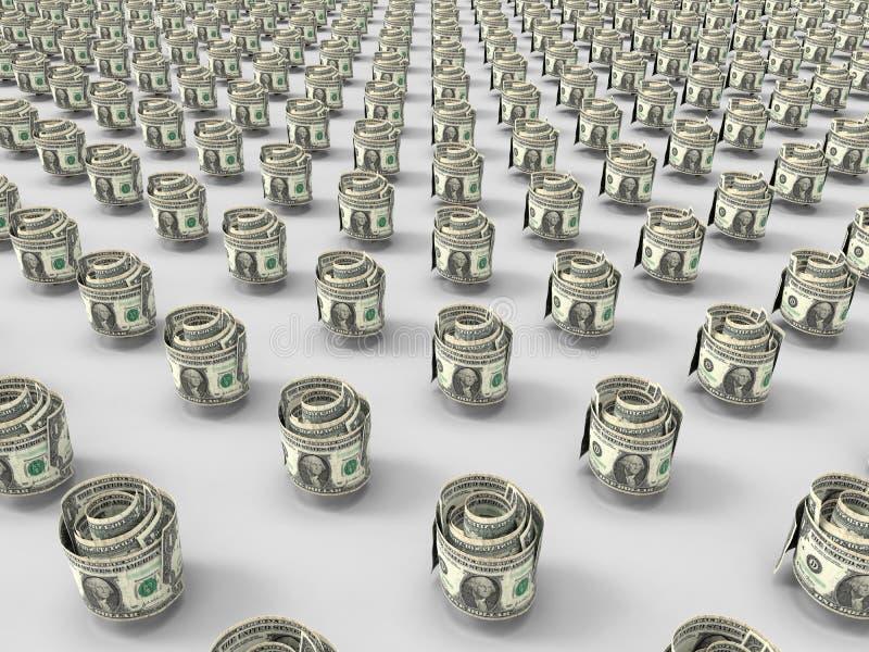 De dollar factureert broodjes 3D concept stock illustratie