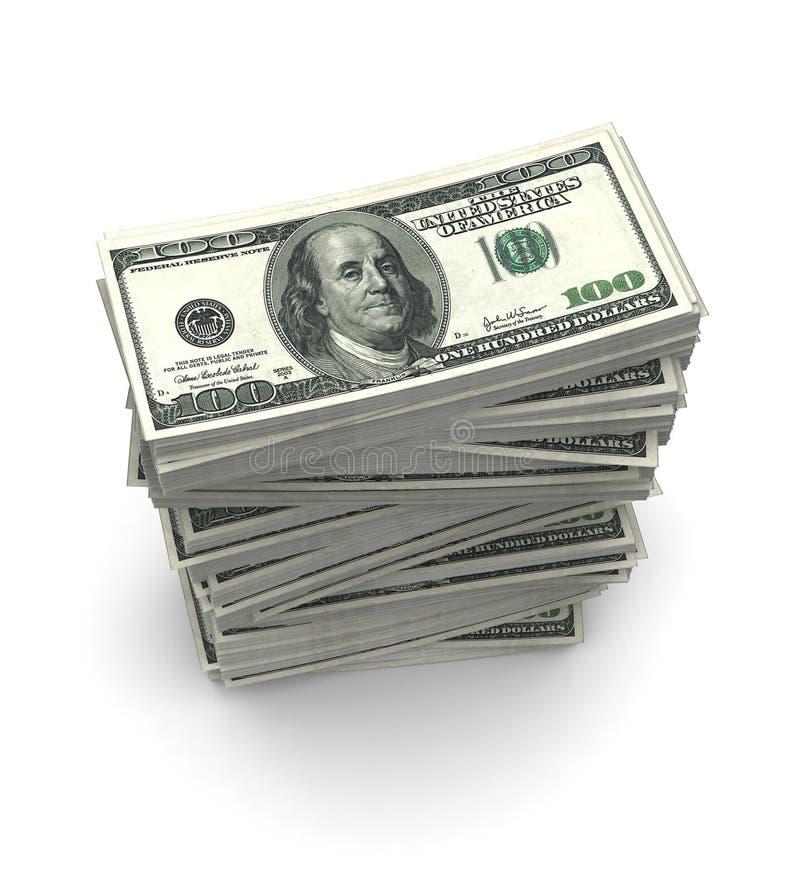 De dollar factureert Pakken (met het knippen van weg) royalty-vrije stock foto