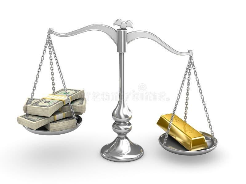 De Dollar van de V.S. versus Goud stock illustratie