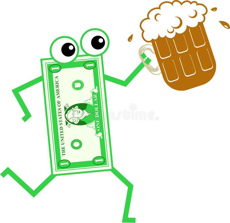 De dollar van het bier stock illustratie