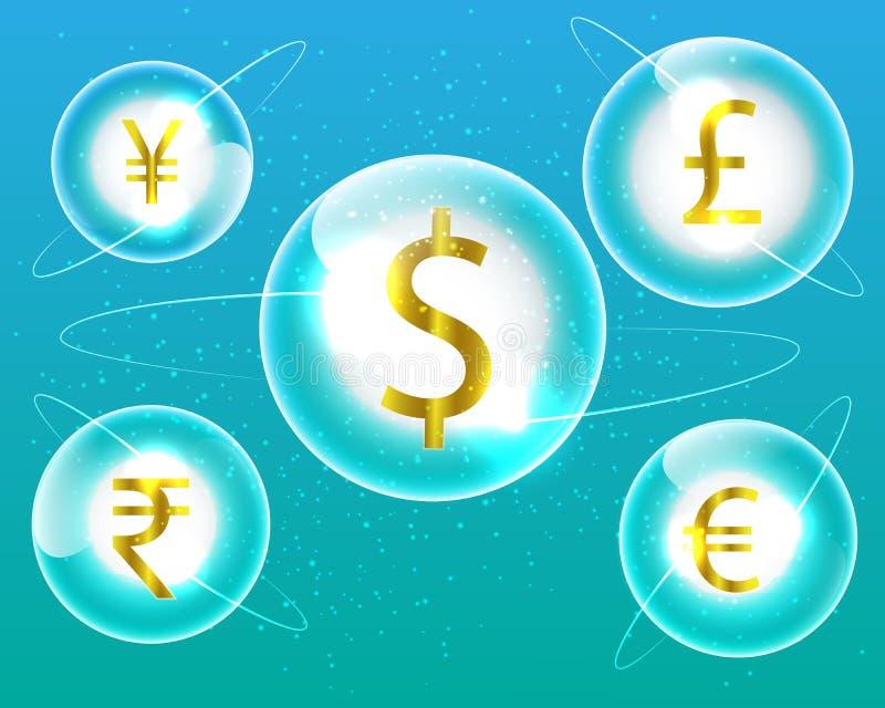 De Dollar van het muntsymbool, Euro, Indische Roepie, Brits Pond, Chinees Y royalty-vrije illustratie