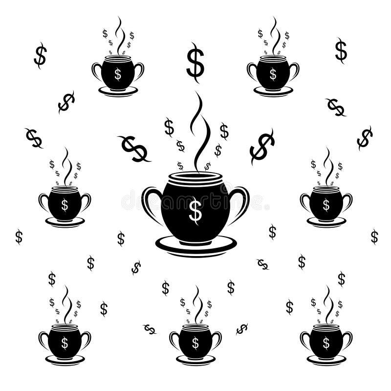 De dollar zwart-witte vectorillustratie van het koppatroon vector illustratie