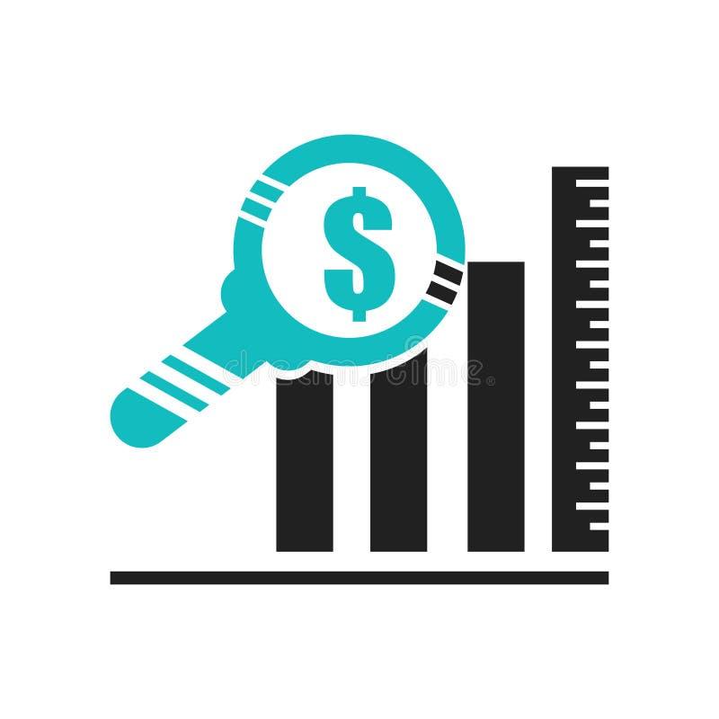 De dollaranalyse verspert het het vectordieteken en symbool van het grafiekpictogram op witte achtergrond, van de de barsgrafiek  stock illustratie