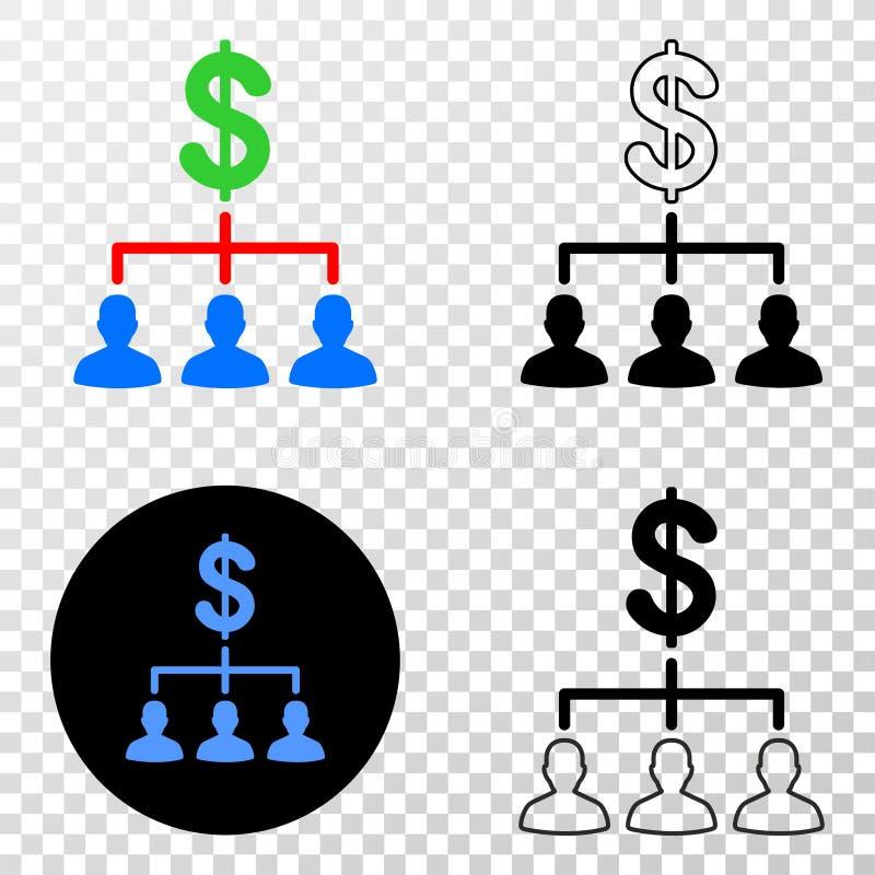De dollarcliënten structureren Vectoreps Pictogram met Contourversie stock illustratie