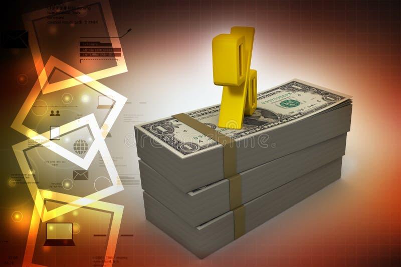 De dollarnota's met percentage zingen royalty-vrije illustratie