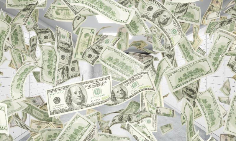 De dollarnota's vallen neer van plafond Een heldere ruimte met veilige stortingsdozen is op de achtergrond stock illustratie