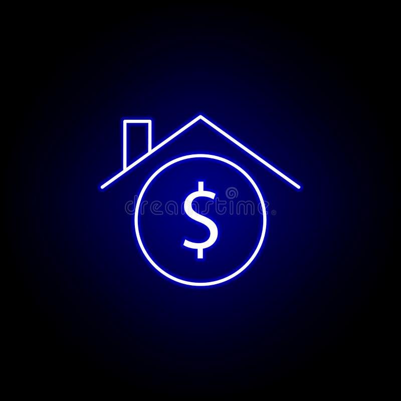 de dollarpictogram van het huishuis in neonstijl Element van financi?nillustratie Tekens en symbolen het pictogram kan voor Web,  vector illustratie