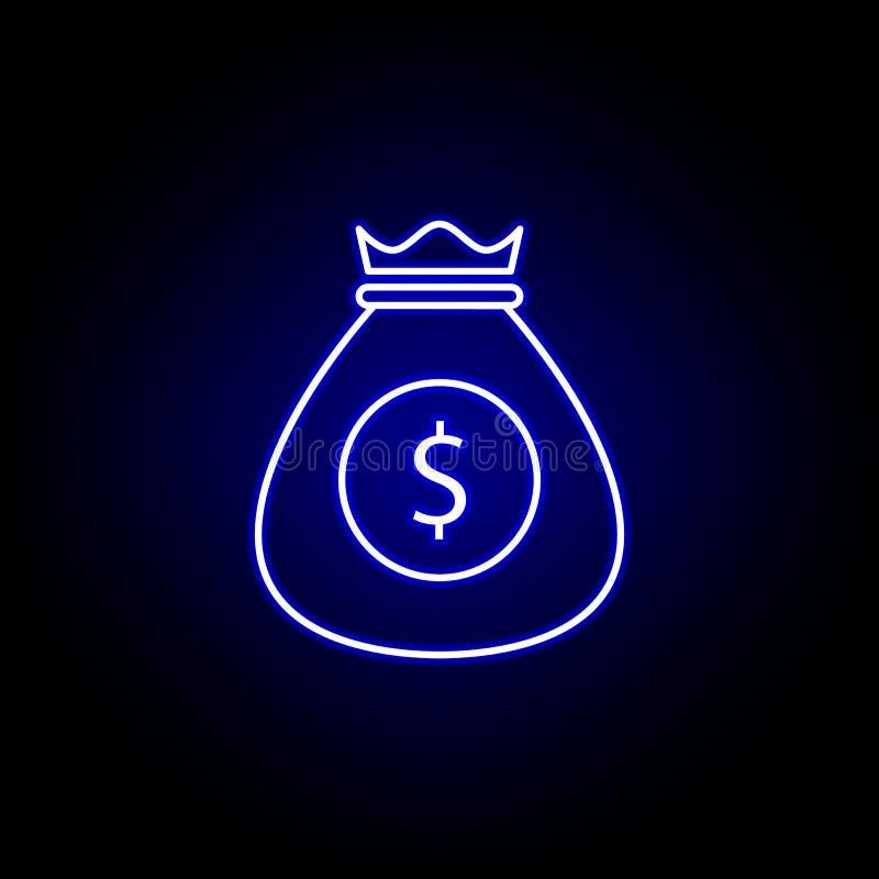 de dollarpictogram van het zakgeld in neonstijl Element van financi?nillustratie Tekens en symbolen het pictogram kan voor Web, e vector illustratie