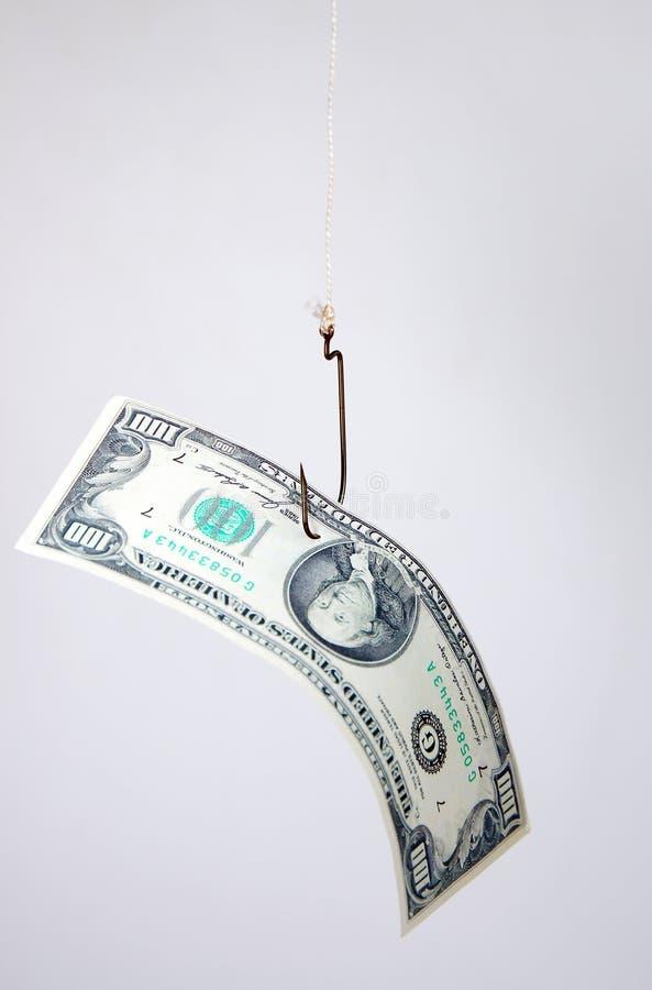 De dollars als aas hangen op een haak stock fotografie
