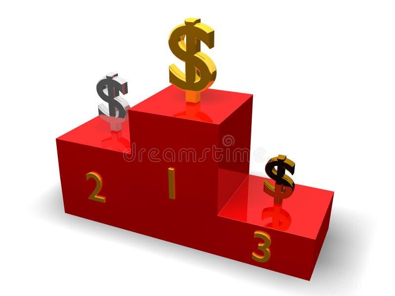 Download De dollars op voetstuk stock illustratie. Illustratie bestaande uit winnaar - 10780941