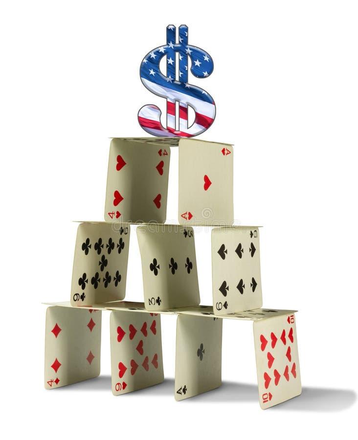 De dollarsymbool van de Verenigde Staten van Amerika op beverig kaartenhuis die zwakke Amerikaanse economie vertegenwoordigen royalty-vrije stock afbeelding