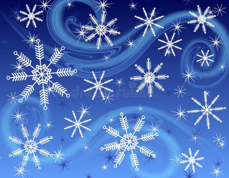 Donkerblauwe Sneeuwvlokachtergrond royalty-vrije stock fotografie