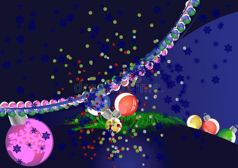 De donkerblauwe Achtergrond van Kerstmis. stock illustratie