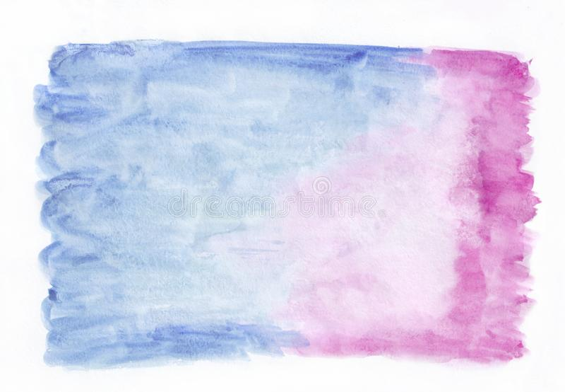 De donkerblauwe en roze gemengde achtergrond van de tweekleurige waterverf horizontale gradiënt Het ` s nuttig voor groetkaarten, stock foto