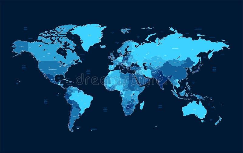 De donkerblauwe gedetailleerde kaart van de Wereld stock illustratie