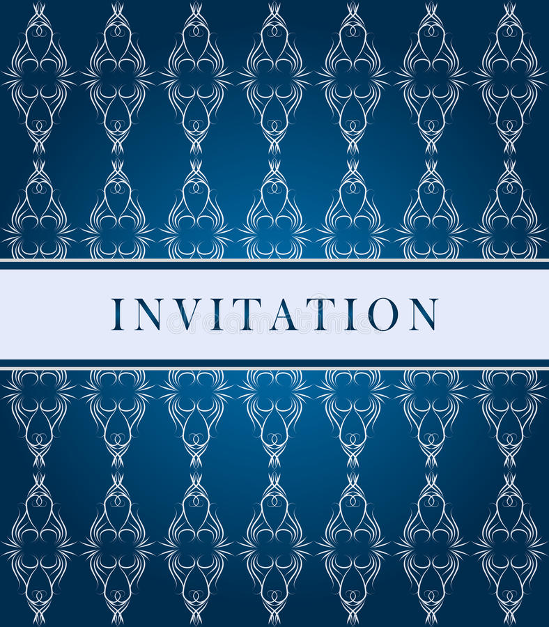 De donkerblauwe overladen kaart van de uitnodiging stock illustratie