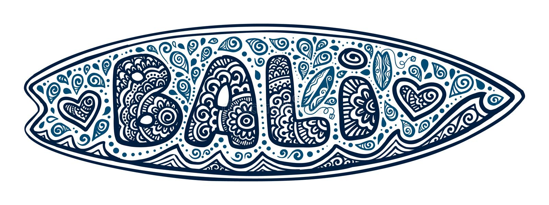 De donkerblauwe vector surfende die raad van de krabbelstijl met het teken, de golven en de harten van Bali op witte achtergrond  vector illustratie