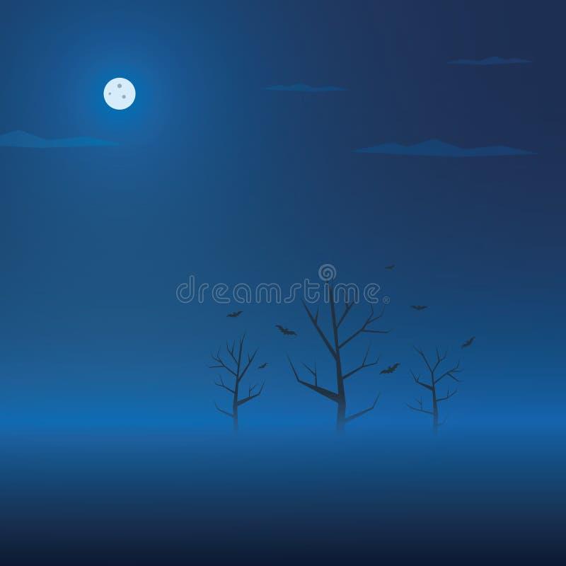 De donkere achtergrond van Halloween Griezelige bomen in mist royalty-vrije illustratie