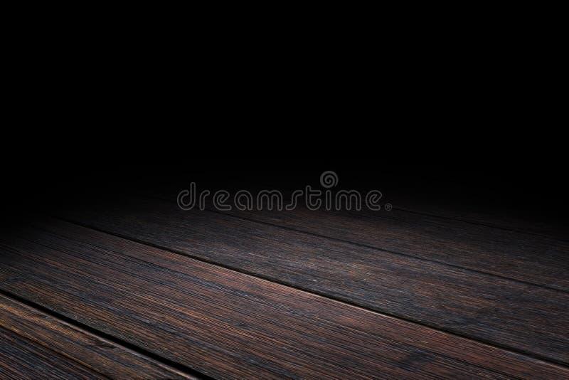 De donkere achtergrond van het de textuurperspectief van de Plank oude houten vloer voor dis stock foto's