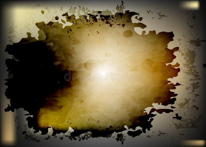 De donkere achtergrond van de vlekwaterverf, roestte de spaarder van het staalscherm Abstracte roestige plak met krassen Uitsteke royalty-vrije illustratie