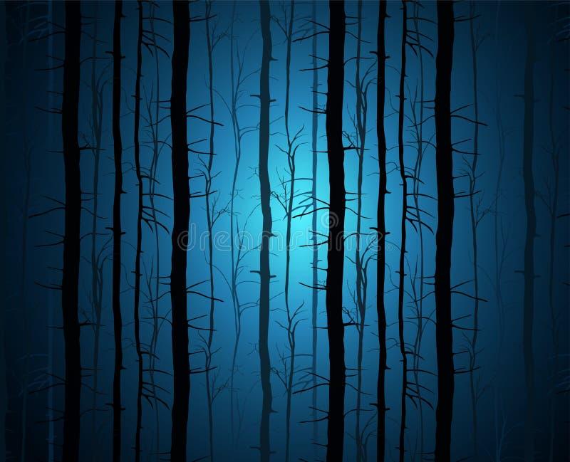 De donkere bosillustratie Een fantastisch landschap met een mysterieuze blauwe gloed boomstammen in blauwe nevel stock illustratie