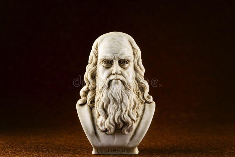 De donkere bruine achtergrond van Leonardo da Vinci stock fotografie