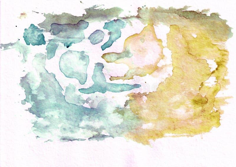 De donkere cerulean wintertaling en brons okerachtergrond van de thw abstracte waterverf Het ` s nuttig voor groetkaarten, valent vector illustratie
