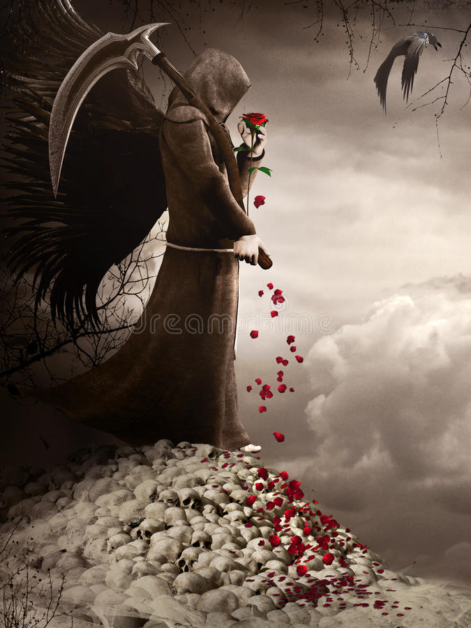 De donkere Engel en rood nam toe stock illustratie