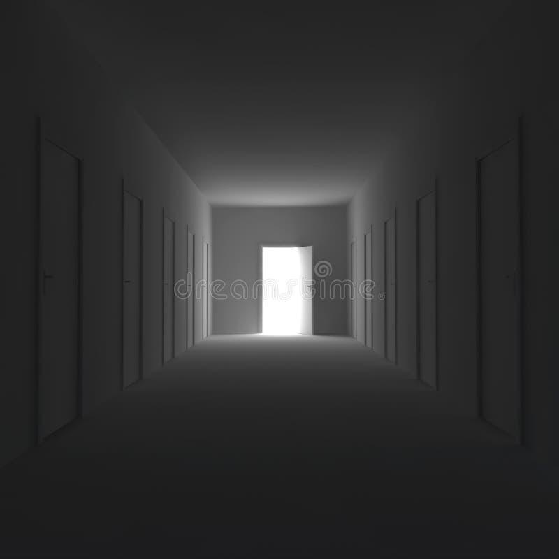 De donkere gang met gesloten deuren en opent aan het eind de deur 3D Illustratie vector illustratie