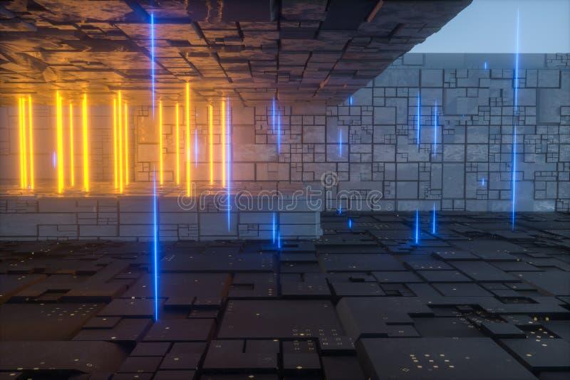 De donkere geheimzinnige verlaten ruimte, fantasiescène, het 3d teruggeven stock illustratie
