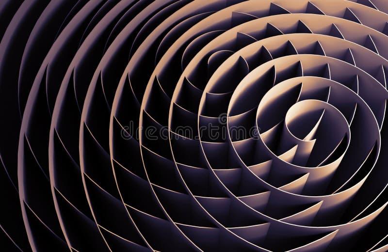De donkere gesneden 3d spiralen, vatten digitaal art. samen vector illustratie