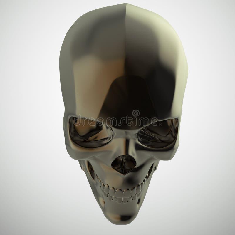 De donkere glanzende opgepoetste metaalschedel geeft op zwarte achtergrond s geïsoleerd terug royalty-vrije stock afbeelding