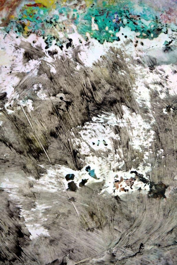 De donkere purpere fosforescerende witte zachte kleuren van de waterverfverf, abstracte achtergrond stock illustratie