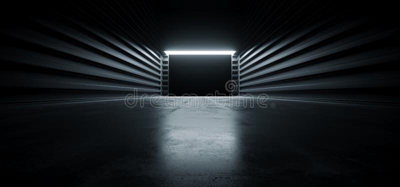De donkere van de de Garagetoonzaal van Cinematic Futuristische Moderne van de de Tunnelgang van het Metaalgrunge Concrete Weersp vector illustratie