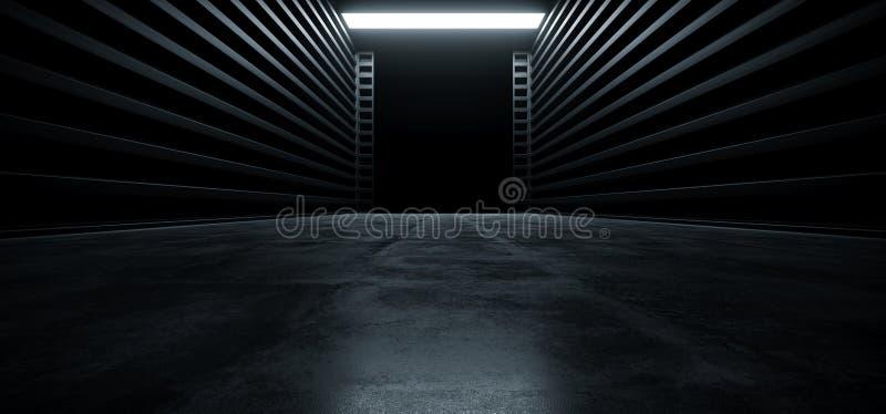 De donkere van de de Garagetoonzaal van Cinematic Futuristische Moderne van de de Tunnelgang van het Metaalgrunge Concrete Weersp royalty-vrije illustratie