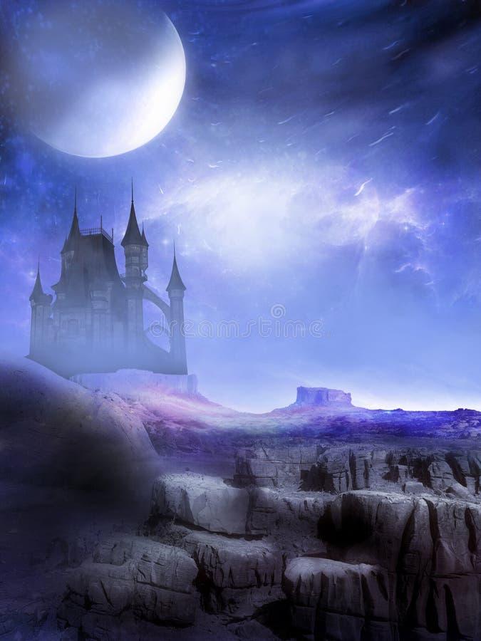 De donkere Vreemde Wereld van het Fantasiekasteel stock illustratie