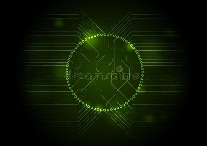 De donkergroene technologie-achtergrond van de kringsraad royalty-vrije illustratie