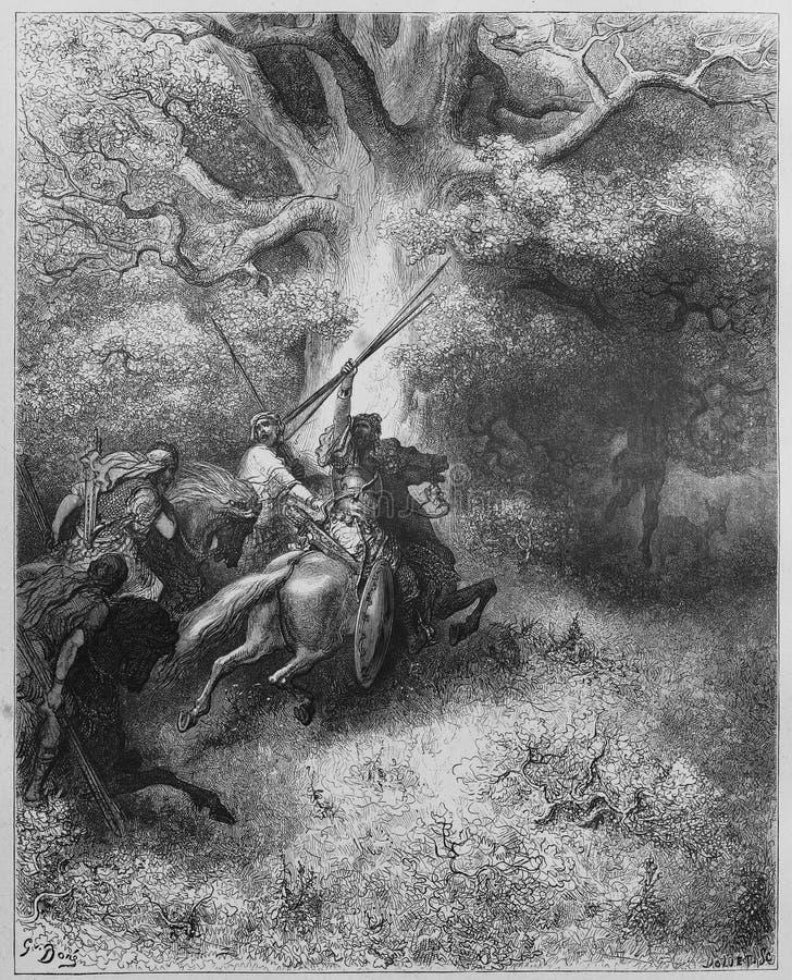De dood van Absalom stock illustratie