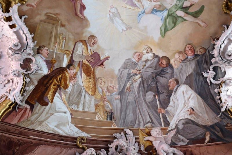 De dood van Heilige Benedict stock afbeelding