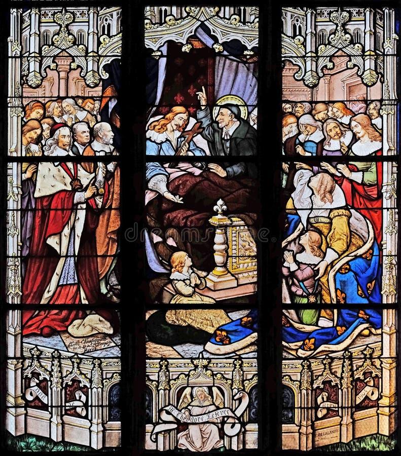 De dood van Louis XIII in aanwezigheid van St Vincent de Paul, Anne van Oostenrijk, toekomstige Louis XIV en HoofdMazarin stock foto