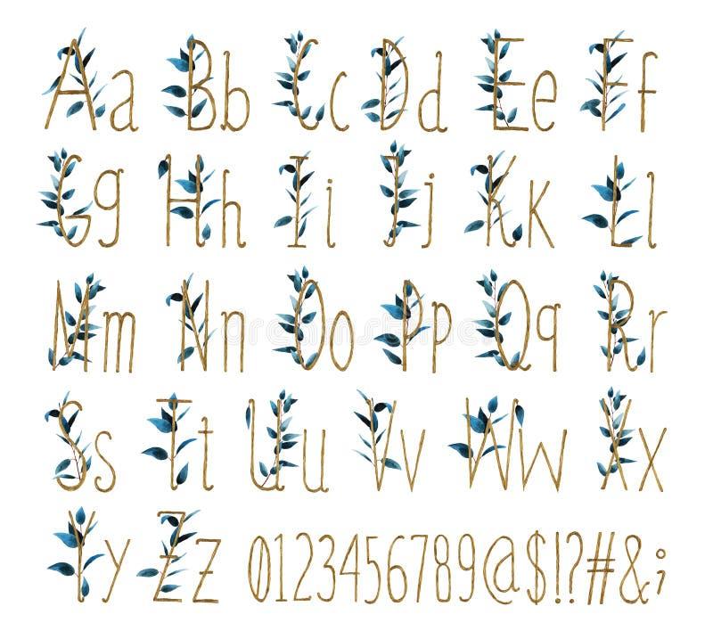 De doopvont van al alfabet met aantallen en tekens wordt gemaakt van waterverfbladeren en Gouden brieven vector illustratie