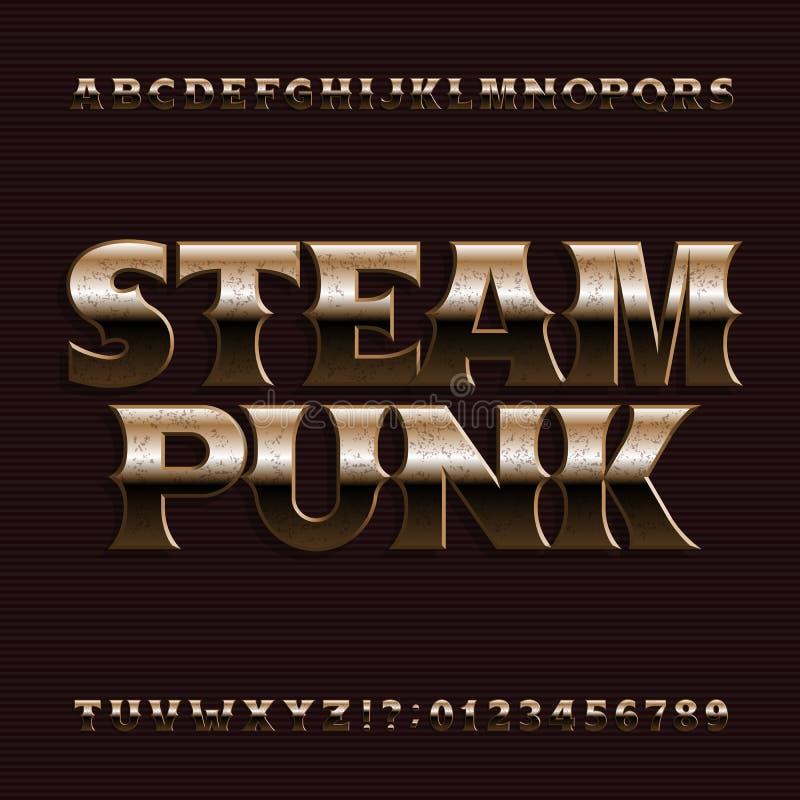 De doopvont van het Steampunkalfabet Uitstekende koperletters en getallen royalty-vrije illustratie