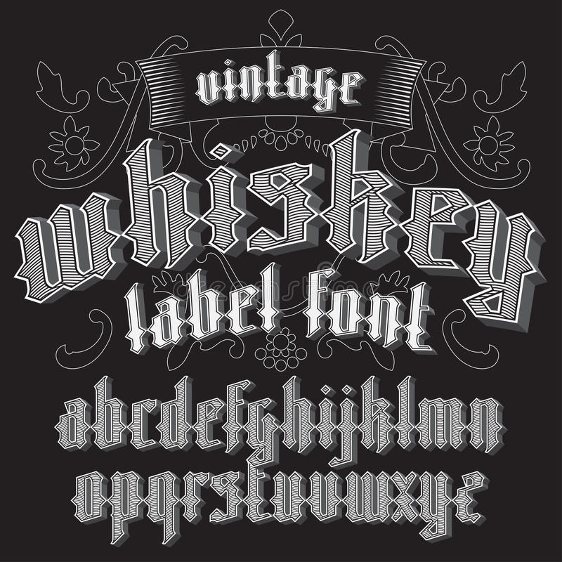 De doopvont van het whiskyetiket en steekproefontwerp met decoratie stock illustratie