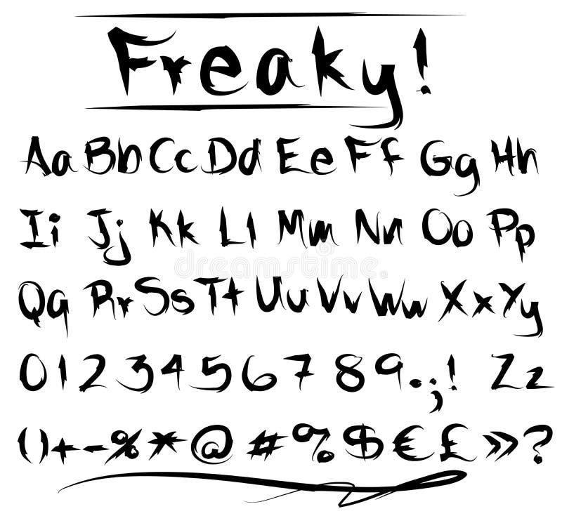 De Doopvontalfabet Van Freaky Stock Afbeelding